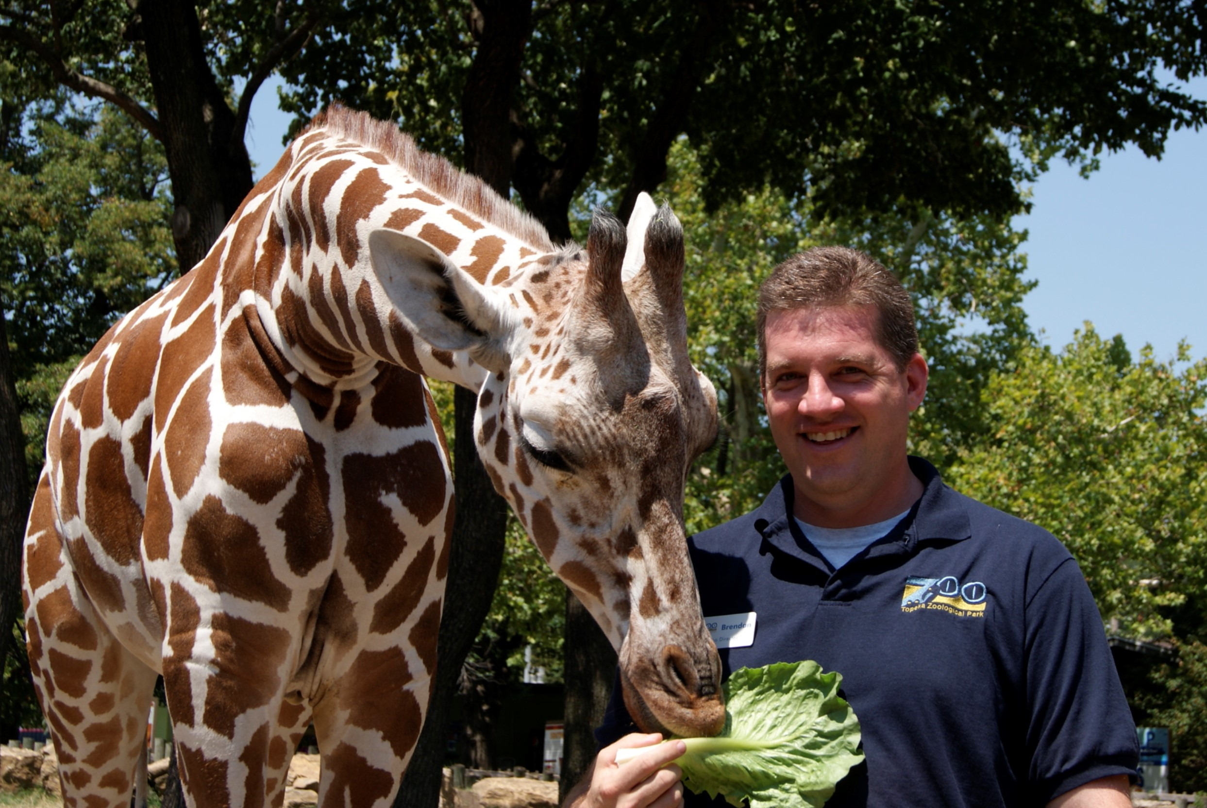 Director Brendan Wiley with Hope the Reticulated Giraffe. Both began their tenure in 2010.