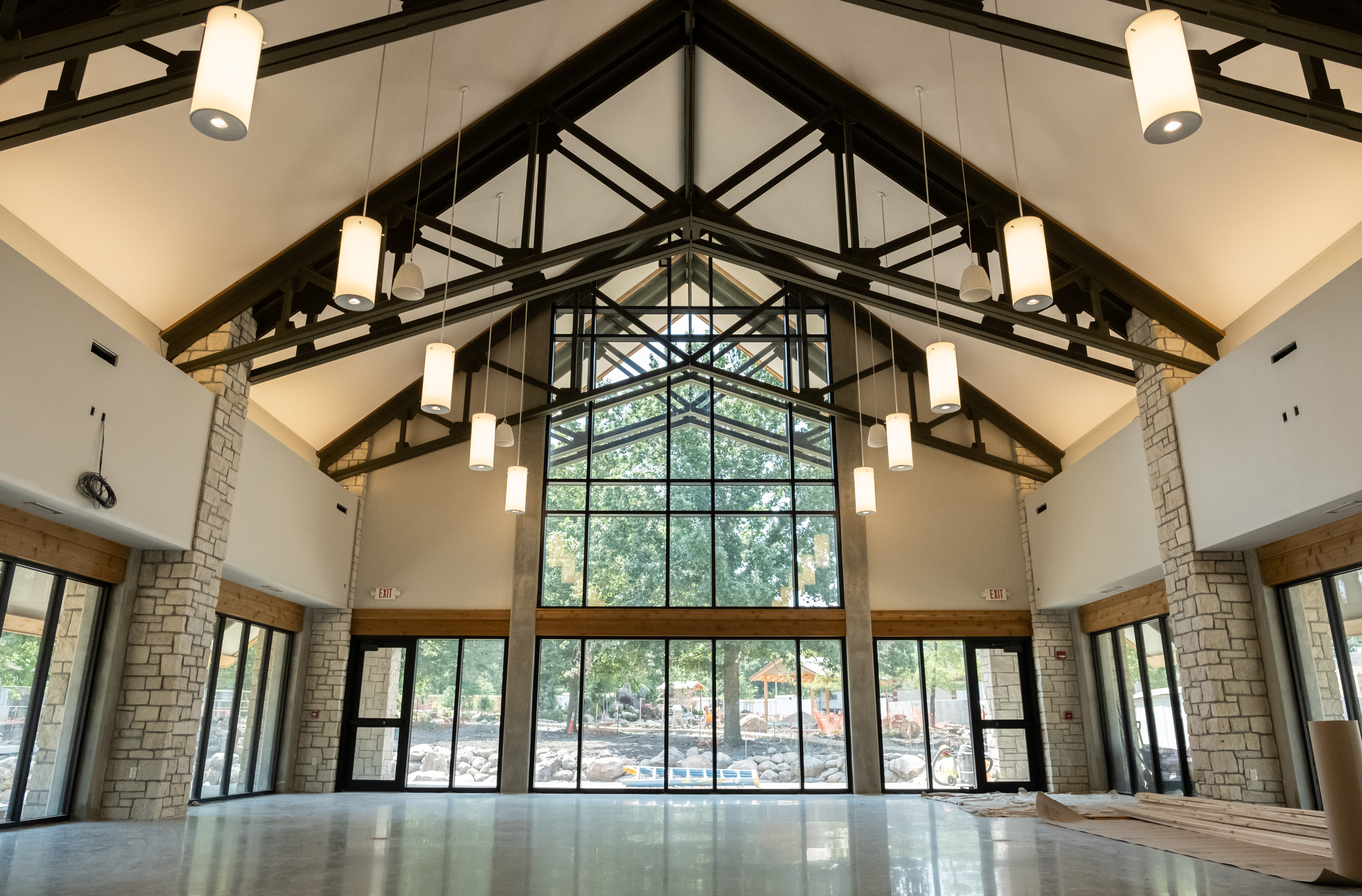 interior of venue with tall ceiling and large glass windows at Topeka Zoo