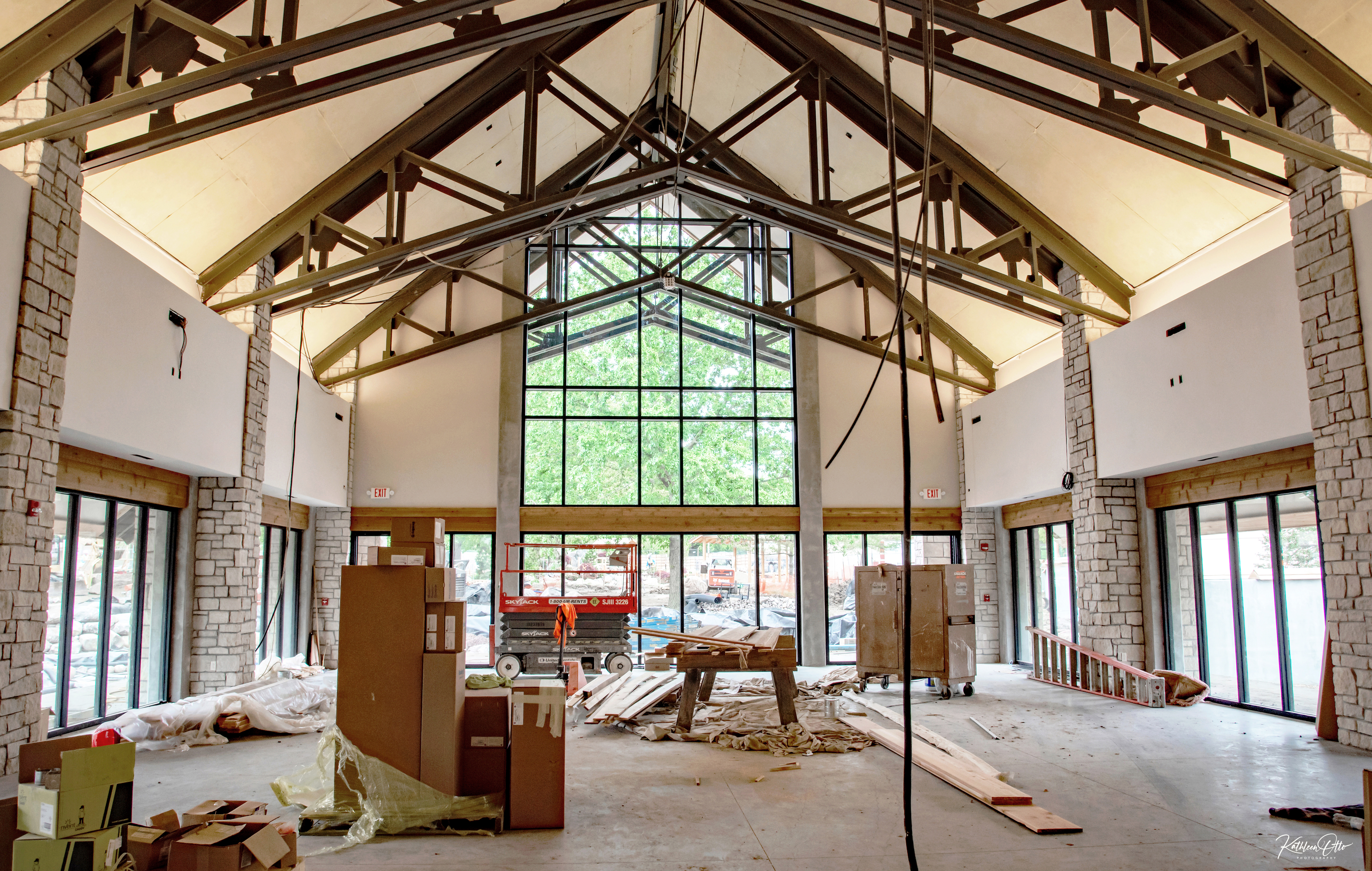 interior of venue at Kay's Garden under construction at Topeka Zoo