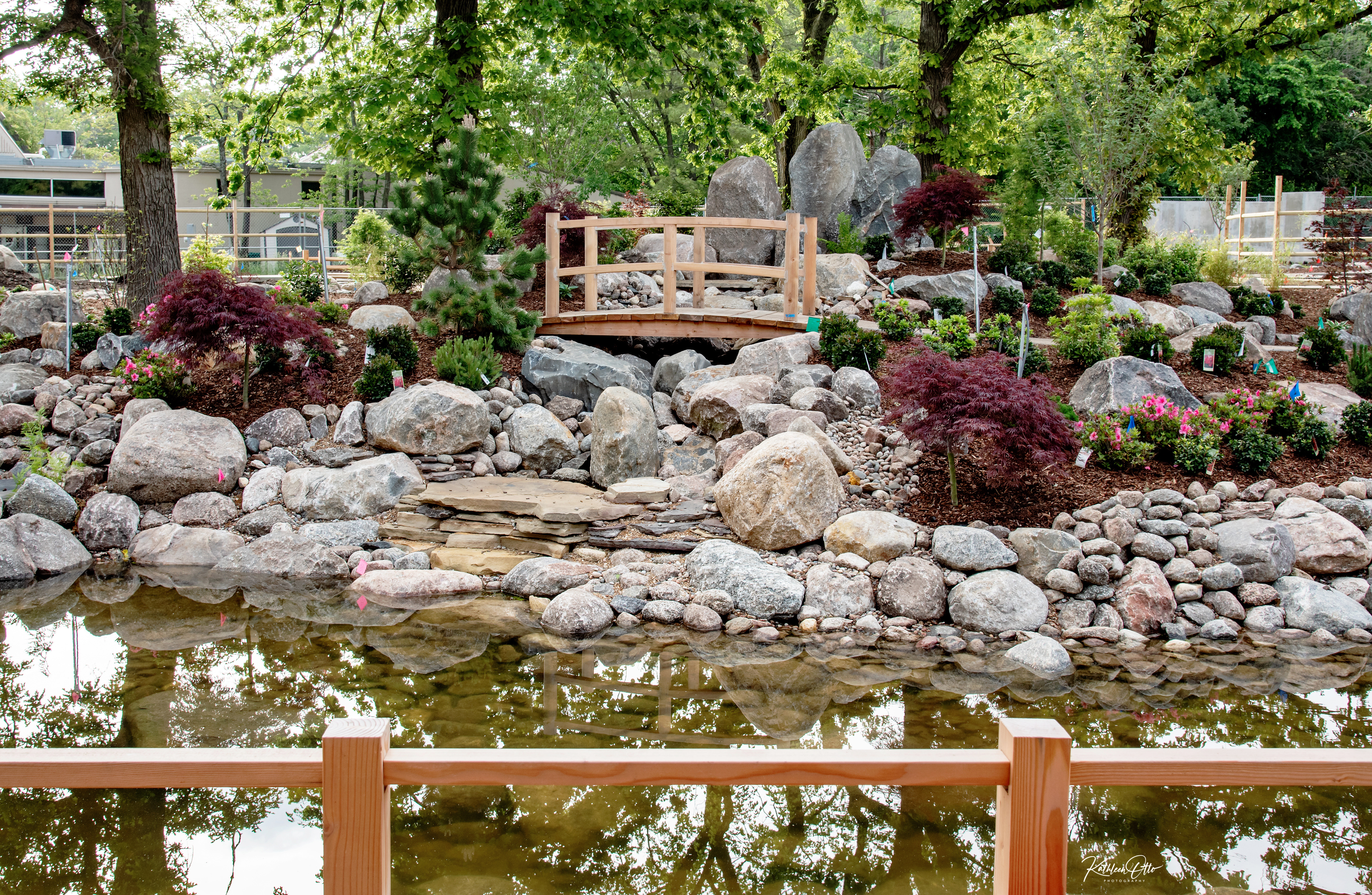 water feature in Japanese garden exhibit at Topeka Zoo