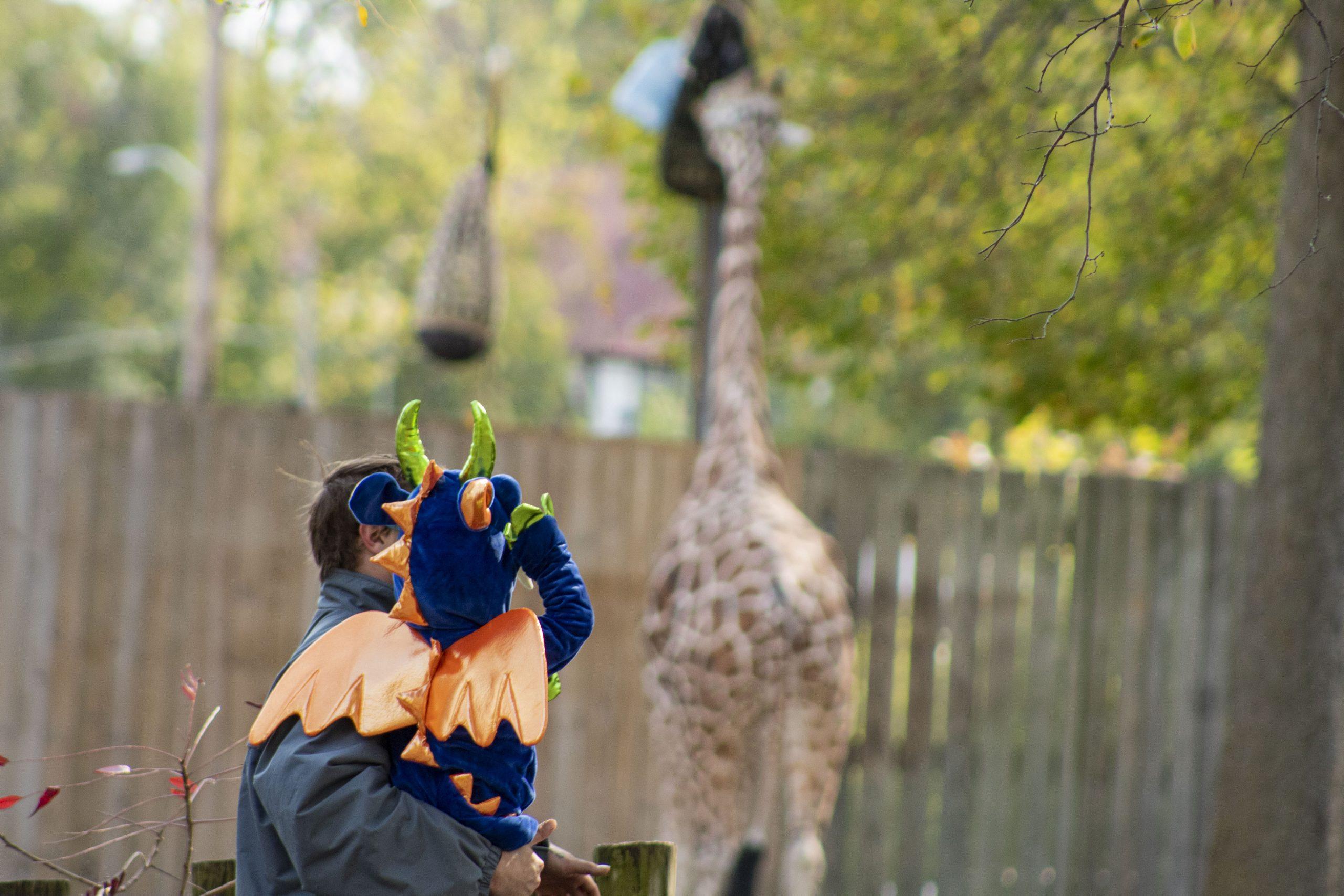 Kid in Constume with Giraffe